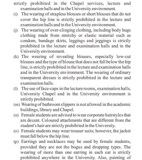 4 Check out the New Dress Code for Covenant Universitys Students
